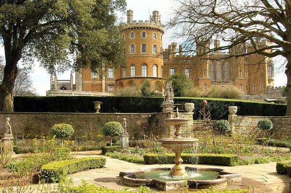 Belvoir Castle garden and water fountain